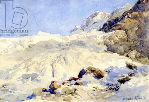 Crevasses on the Gorner Glacier, Zermatt, Switzerland (w/c on paper)