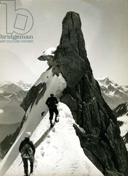 Climbers on an Aiguille in Chamonix (silver gelatin print)