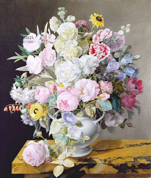 Still life with a vase of flowers on a marble surface (w/c on vellum)
