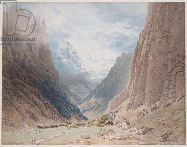 The Lauterbrunnen Valley, Bernese Oberland, Switzerland (w/c on paper)