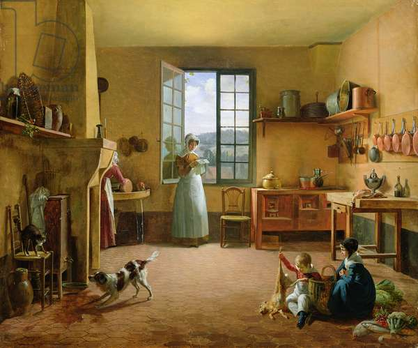 Interior of a Kitchen (oil on canvas) (for detail see 332638)