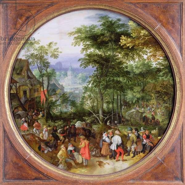 Rustic Scene (oil on panel)