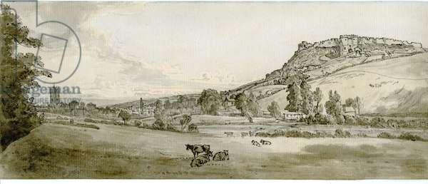 Carisbrooke Castle, Isle of Wight (pen & ink & w/c on paper)