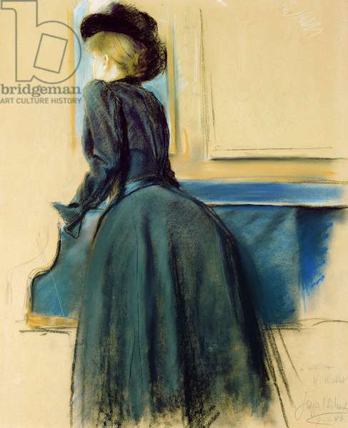Portrait of a woman by a piano, 1883 (pastel on paper)
