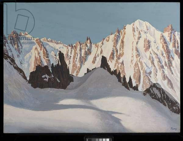 Les Courtes seen from the Petites Aiguilles Rouges du Dolent, Chamonix, France (oil on panel)