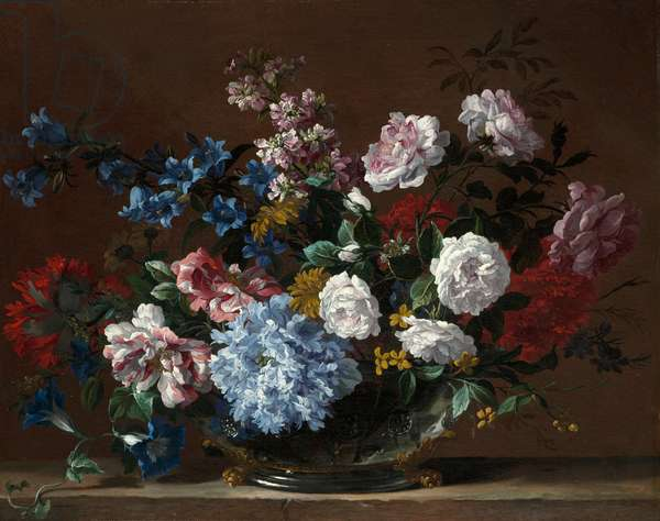 A still life of roses, convolvulus, Canterbury bells and other flowers (oil on canvas)