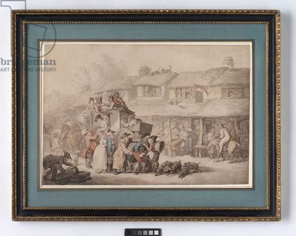 The arrival of the stagecoach at Bodmin, Cornwall, 1807 (w/c, pencil & pen & ink on paper)