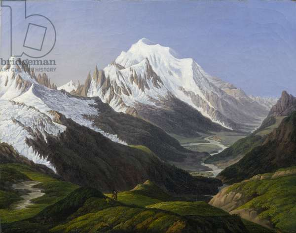 Mont Blanc seen from the Col de Balme (oil on unlined canvas)