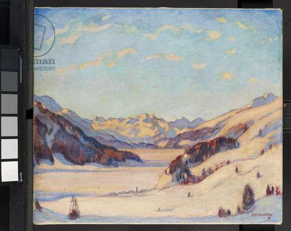 A view of Zuoz looking towards St. Moritz and Piz Margna in the Upper Engadine, 1919 (oil on canvas)