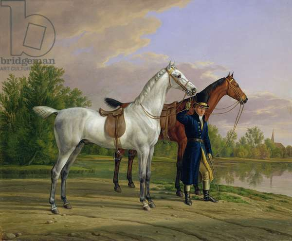 Portrait of a man with two horses, 1825 (oil on canvas)