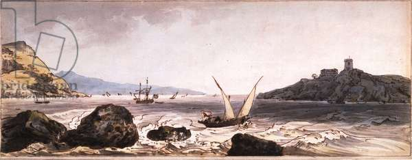 The Coast of Provence, 1790 (pen & ink & w/c on paper)
