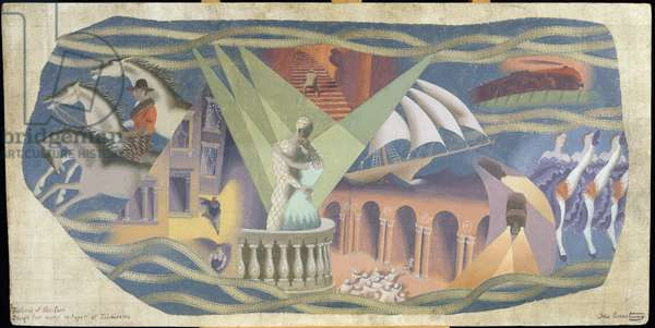 Design for a mural in the foyer of the Telecinema at the Festival of Britain, 1951 (oil on board)