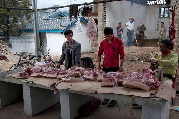 Meat Market near Lijang, Yunnan, China (photo)