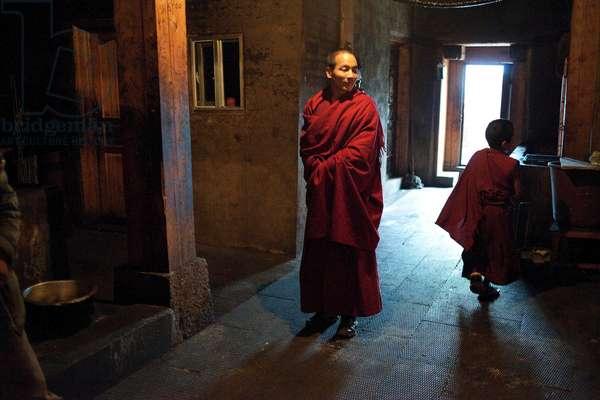 two monks in Monestary, Shangri La, China (photo)