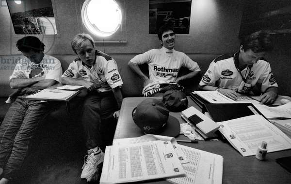 Damon Hill sits with Ayrton Senna the morning Ayrton was killed, Imola, Italy, 1994 (b/w photo)
