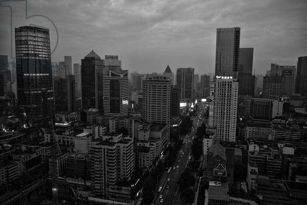 Chengdu, Night scene, China (b/w photo)