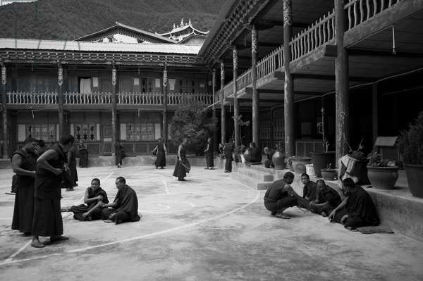 Monks in courtyard having a man discussion, Yunnan, China (b/w photo)