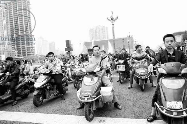Rush Hour Chengdu, China (b/w photo)