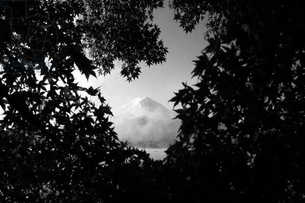 Mount Fuji and surrounding areas, Japan (b/w photo)
