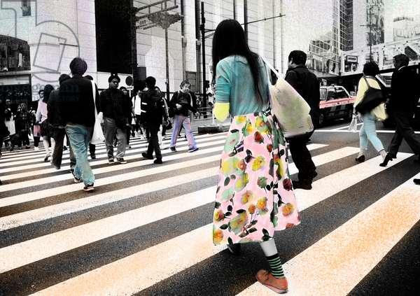 Painted iPad image of Tokyo crossing, Japan (b/w photo)
