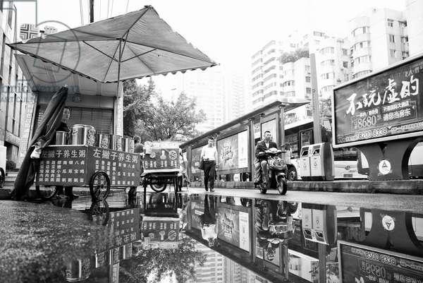 After the rain Chengdu, China (b/w photo)