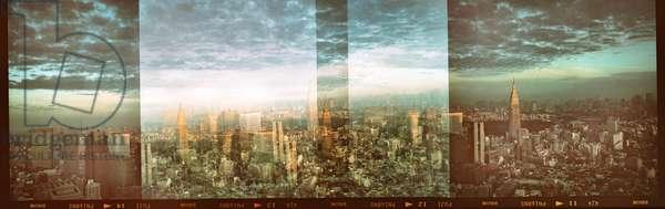 Large wall art, Multi exposure of Tokyo skyline Japan (b/w photo)