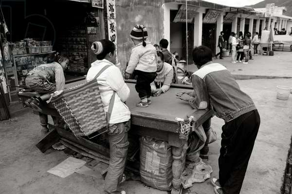 Pool Table with Child, China (b/w photo)