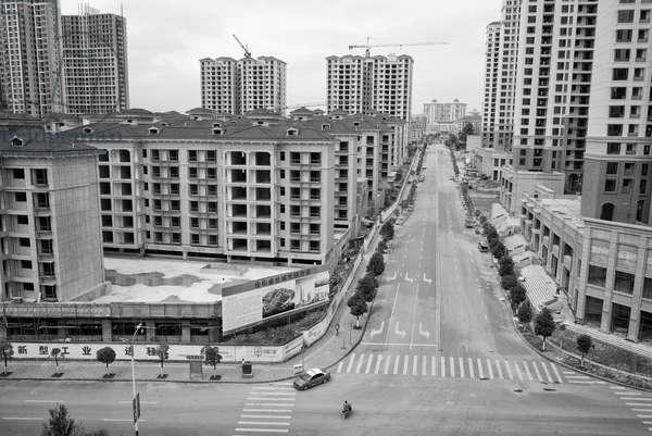 Empty buildings Yibin, China (b/w photo)