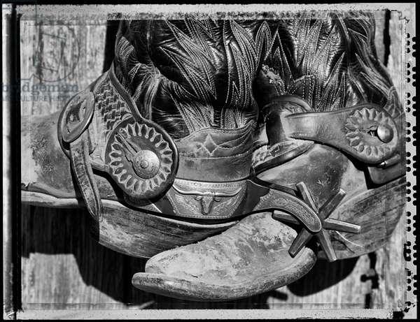 Jack's boots shot on type 55 polaroid film, Oaks creek ranch, USA, 1997 (b/w photo)