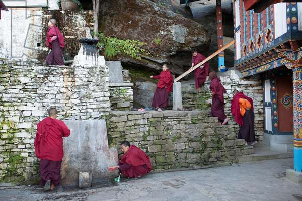 Nuns at their Nunnery high above Paro, Bhutan (photo)