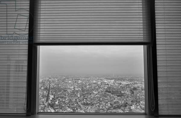 View from Hotel Tokyo, Japan (b/w photo)