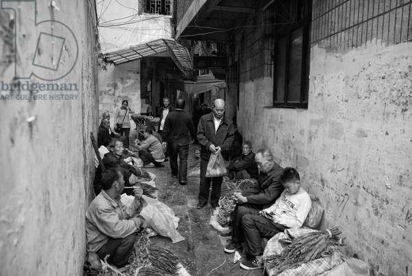 Tabacco market Yibin, China (b/w photo)