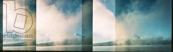 Multi exposure of Mount Fuji shot on 6x9 film, Japan (b/w photo)