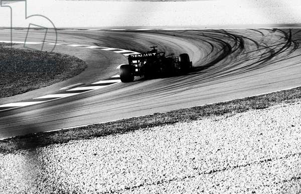 F1 testing, before Covid-19 struck, Barcelona, Spain, 2020 (b/w photo)