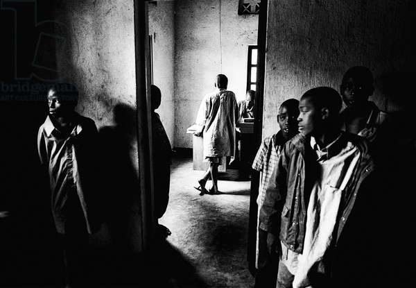 Child soldiers in Rwanda before being return to their families, Africa (b/w photo)
