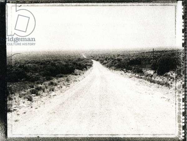 Ranch road JA ranch Texas, USA (b/w photo)