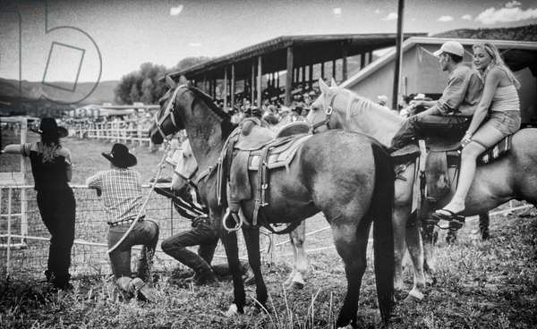 Ranch rodeo in Cimarron NM, USA, 2000 (b/w photo)
