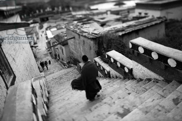 Novice monk, Shangri La, China (b/w photo)