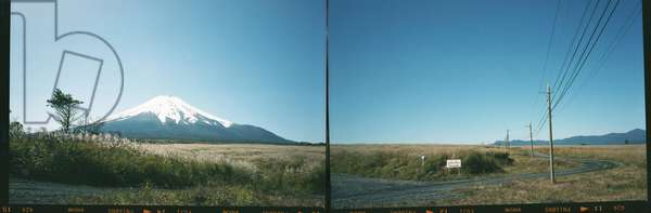 Mount Fuji shot on two sheets of film 6x9, Japan (b/w photo)