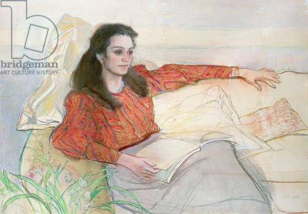 Portrait of a woman seated on a sofa (pastel)