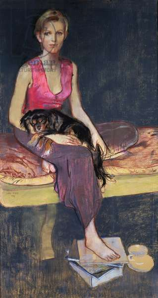 Portrait of a young woman, 1989 (pastel)