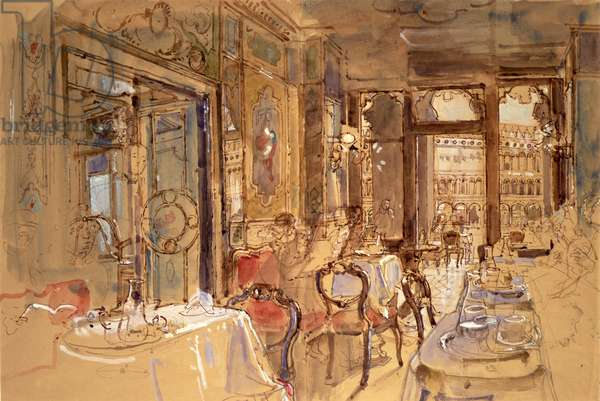 Interior of Florian's, Venice, 1984 (w/c and pencil)