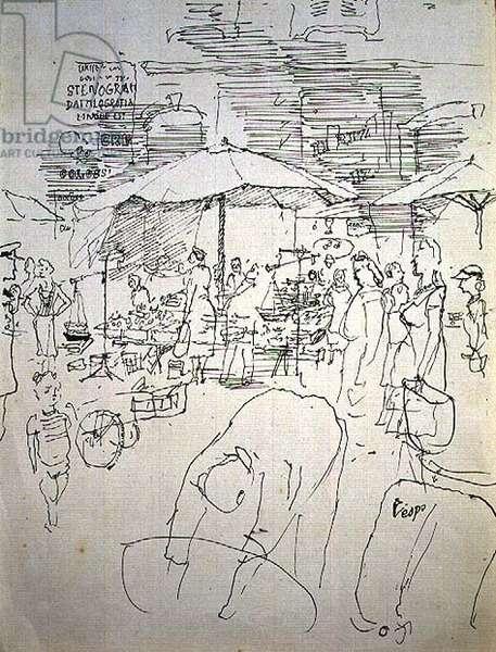 Market scene in an Italian town (pen & ink)