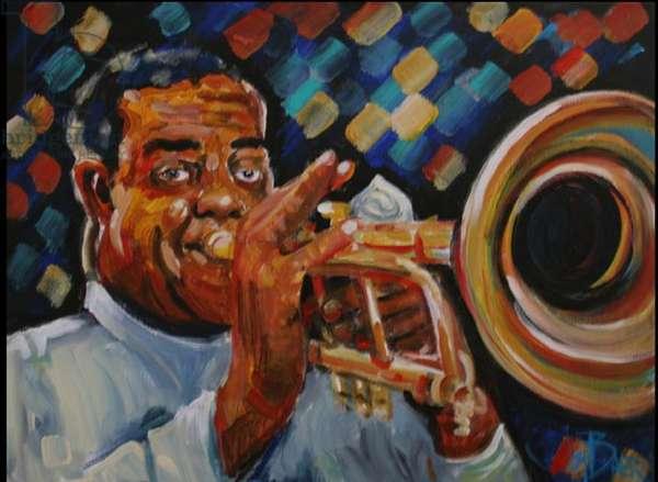 Louis Armstrong (fresco caseins on canvas)