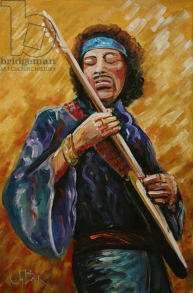 Jimi Hendrix (fresco caseins on canvas)
