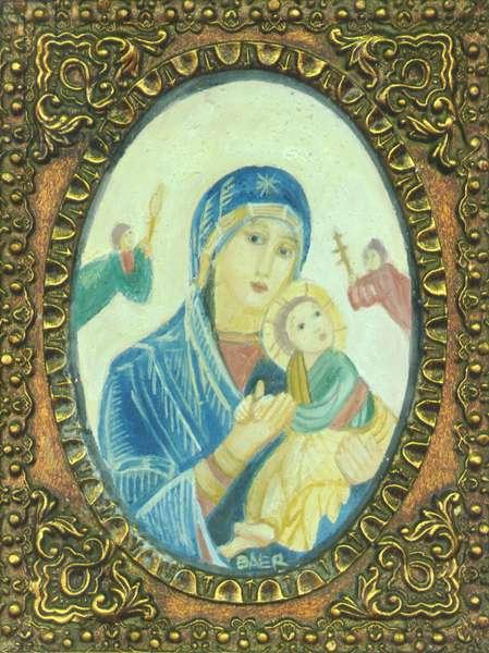 Madonna (framed plaster fresco)