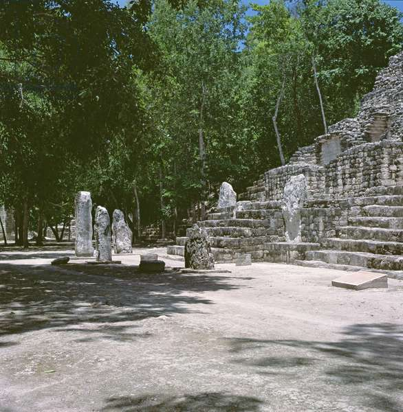 Calakmul stelae in front of Temple IV, Late Classic Period (600-900 AD) (photo)