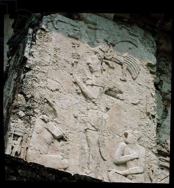 Relief on the door jamb depicting a king and two seated men, detail of the exterior decoration of the Palace, Late Classic Maya (see also 230666) (photo)