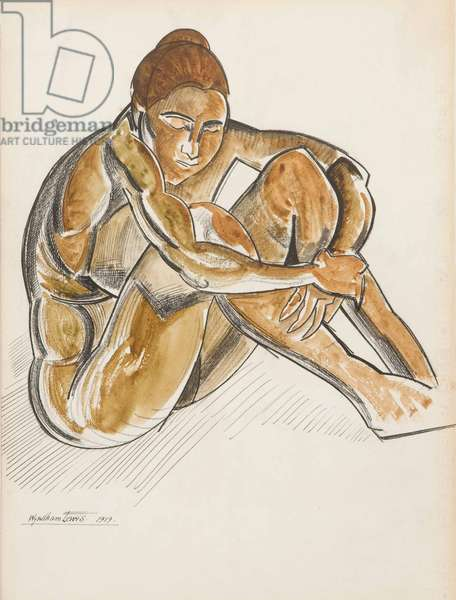 Seated Female Nude, 1919 (pencil, pen & black ink with w/c on paper)