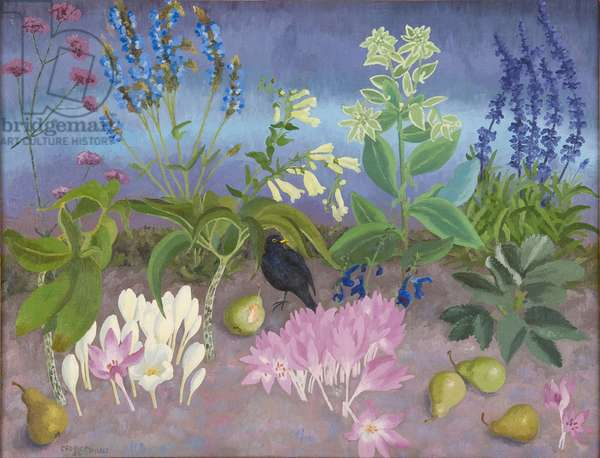 Blackbird and Flowers, 1952 (oil on canvas)